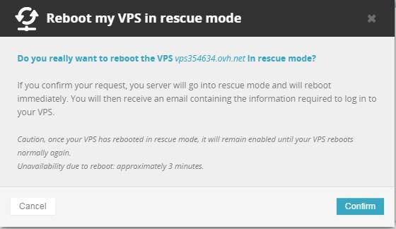 Ampliar VPS de capacidad modo rescate